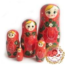 """Матрешка """"Вятка средняя красная"""" 5 кукольная"""